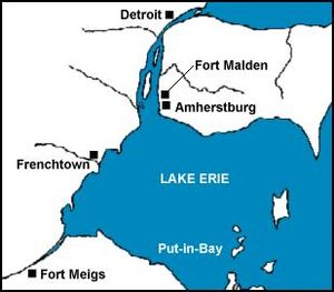 Battle of Frenchtown - Location of Frenchtown and Fort Detroit