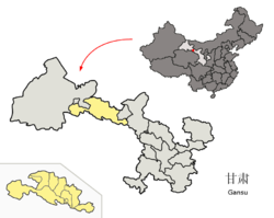Location of Zhangye City jurisdiction in Gansu