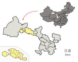 Localização da jurisdição da cidade de Zhangye em Gansu