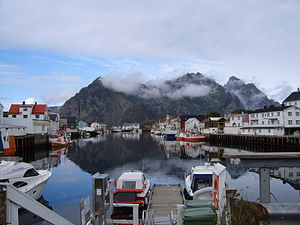 Henningsvær in the Lofoten islands, Nordland, ...