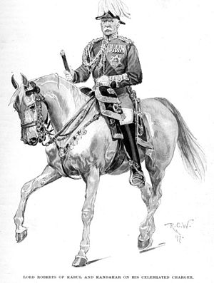 "Battle of Kandahar - ""Lord Roberts of Kabul and Kandahar on his Celebrated Charger,"" by Richard Caton Woodville (Harper's Magazine, European Edition, December 1897, p27). For his services, General Roberts received the thanks of Parliament, and was appointed both Knight Grand Cross of the Order of the Bath (GCB) and Companion of the Order of the Indian Empire (CIE) in 1880, becoming a baronet the following year."