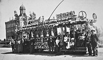 Los Angeles Pacific Railroad - Los Angeles Consolidated Electric streetcar  at Pico Heights, decorated for Washington's Birthday, c. 1892.