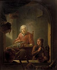 A Lacemaker, with a Boy Blowing Bubbles
