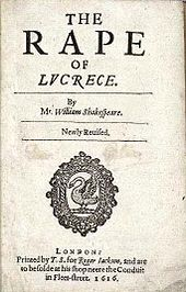 Title page of the narrative poem The Rape of Lucrece with Mr. prefixing Shakespeare's name