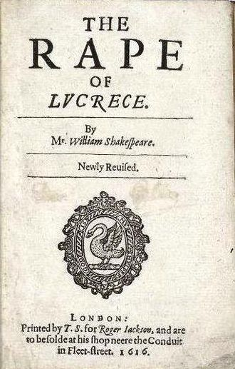 The Rape of Lucrece - Title page of the sixth edition of The Rape of Lucrece (1616).