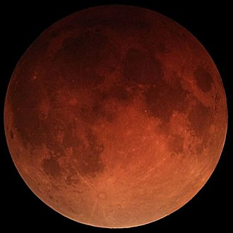 Full moon - The full Moon during the total lunar eclipse of 31 January 2018