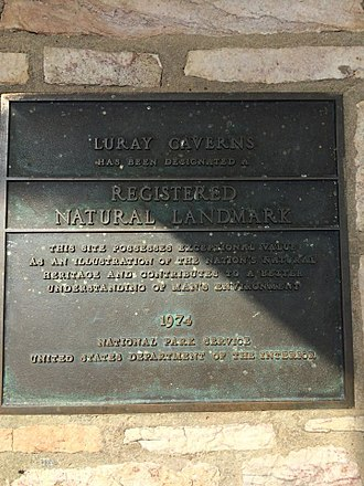 Luray Caverns - The plaque outside Luray Caverns declaring it a Natural Landmark