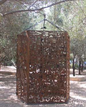 Lydia Venieri - Four meter tower built from iron for the Athens Olympics. here shown at Parthenis Darsilion, Athens, 2004