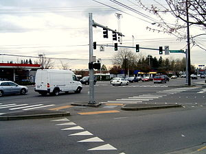 Lynnwood, Washington - Highway 99 and 196th ST SW, one of the busiest intersections in Lynnwood.