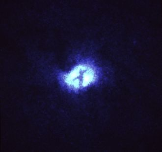 Whirlpool Galaxy - A 1992 Hubble image showing a knot of dust once thought to be a pair of rings encircling a black hole.