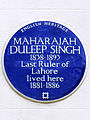 MAHARAJAH DULEEP SINGH 1835-1893 Last Ruler of Lahore lived here 1881-1886.jpg