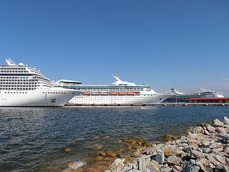 Tallinn Passenger Port - Cruise ships berthed at cruise terminal