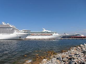 Cruise ship - Cruise ships in Tallinn Passenger Port of Tallinn, Estonia - a popular tourist destination