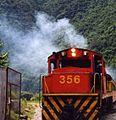 Machu Picchu locomotive at Aguas Calientes - panoramio.jpg