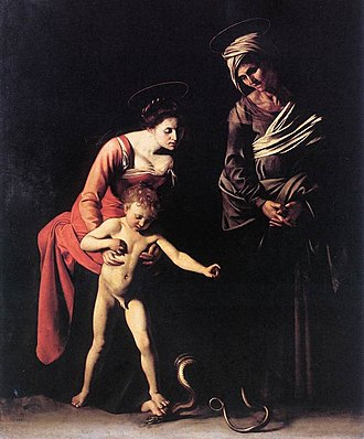 Christian naturism - Painting Madonna and Child with St. Anne showing Christ unashamed to be naked, being without sin. The Virgin Mary is with her mother. Caravaggio, 1606