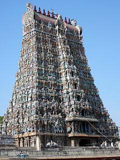 Gopuram monumental gateway tower to Hindu temple complexes