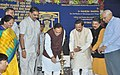 Mahesh Sharma and the Chief Minister of Gujarat, Shri Vijay Rupani lighting the lamp at the foundation stone laying ceremony of Archeological Survey of India (ASI) excavation site, in Vadnagar, Gujarat.jpg