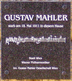 Photo of Gustav Mahler marble plaque