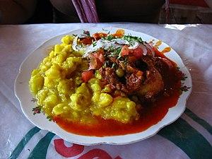 Chuño - Maiz with chuño and chili