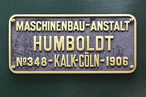 Maschinenbau Anstalt Humboldt - Manufacturer's plate from a Mallet locomotive, that Humboldt built in 1906 for the Brohl Valley Railway