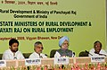 Manmohan Singh, the Union Minister for Rural Development and Panchayati Raj, Shri C.P. Joshi and the Minister of State of Rural Development, Shri Pradeep Jain at the Conference of State Rural Development Ministers.jpg