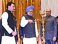 Manmohan Singh lighting the lamp to inaugurate the Golden Jubilee Celebrations of the Kendriya Vidyala Sangathan (KVS), in New Delhi. The Union Minister for Human Resource Development.jpg