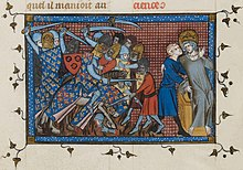 A mounted knight fights against footmen, while a crowned man is carried from the battlefield.