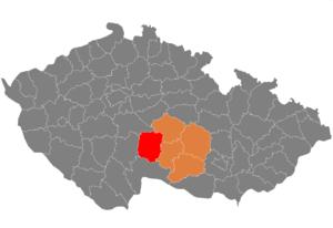 Vị trí huyện Pelhřimov trong vùng Vysočina trong Cộng hòa Séc