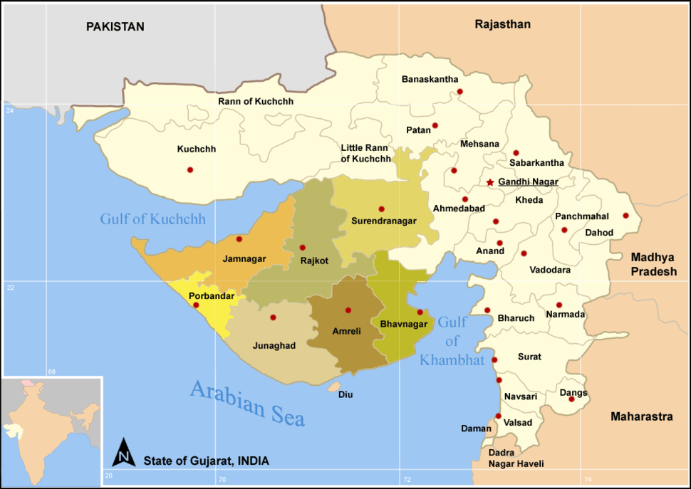 Map GujDist Saurastra