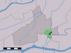 The village (dark green) and the statistical district (light green) of Arkel in the municipality of Giessenlanden.