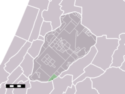 The town centre (darkgreen) and the statistical district (lightgreen) of Weteringbrug in the municipality of Haarlemmermeer.