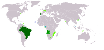 Countries and regions where Portuguese is spoken or has official status.