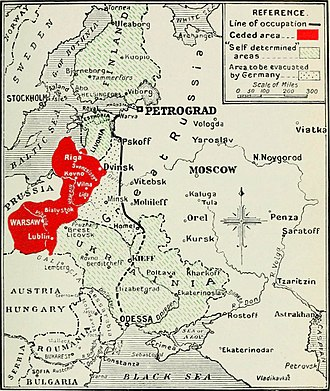 Ukraine after the Russian Revolution - Ukrainia's borders drawn up at Brest-Litovsk.