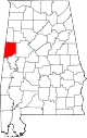 Map of Alabama highlighting Pickens County.svg