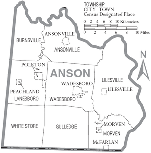 Map of Anson County, North Carolina With Municipal and Township Labels