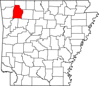 Map of Арканзас highlighting Madison County