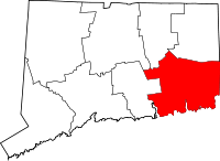 Map of Connecticut highlighting New London County