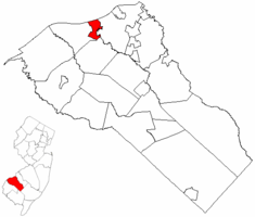 Paulsboro highlighted in Gloucester County. Inset map: Gloucester County highlighted in the State of New Jersey.