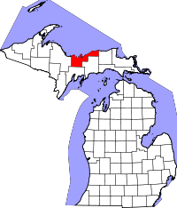 Kart over Michigan med Alger County uthevet