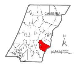 Map of Cambria County, Pennsylvania highlighting Portage Township