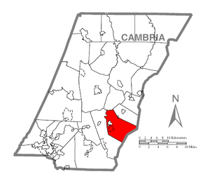 Portage Township, Cambria County, Pennsylvania - Image: Map of Portage Township, Cambria County, Pennsylvania Highlighted