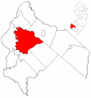 Mannington Township highlighted in Salem County. Inset map: Salem County highlighted in the State of New Jersey.