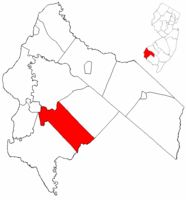 Quinton Township highlighted in Salem County. Inset map: Salem County highlighted in the State of New Jersey.