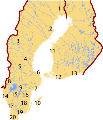 Map showing location of the various modern dialect samples