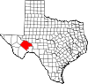 State map highlighting Pecos County