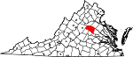 State map highlighting Louisa County