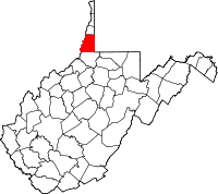 Map of West Virginia highlighting Marshall County.svg