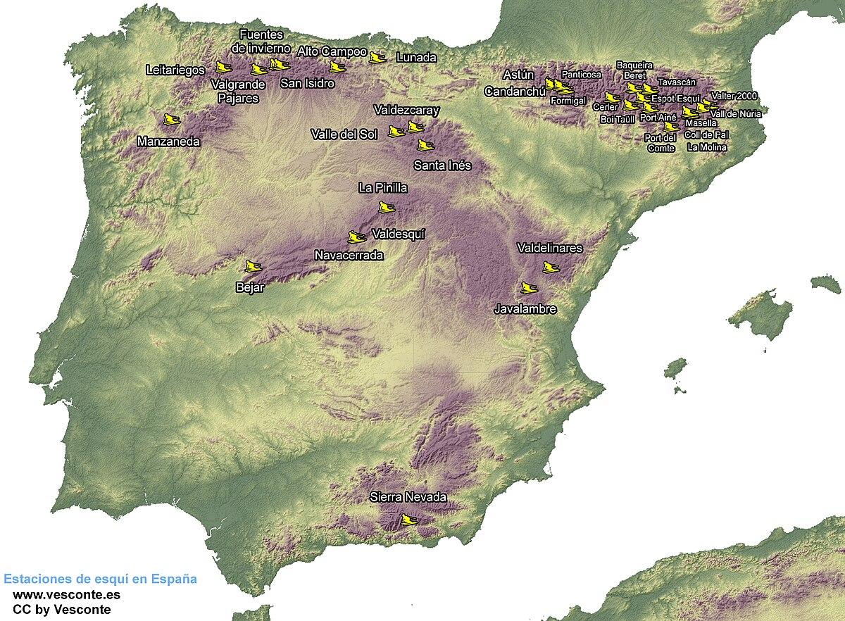 Estaciones De Esqui Mapa.Esqui En Espana Wikipedia La Enciclopedia Libre