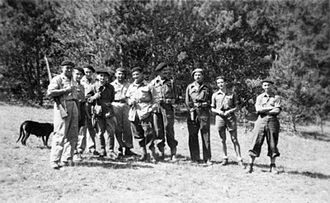 Maquis (World War II) - Maquisards (Resistance fighters) in the Haute-Savoie département in August 1944. Third and fourth from the right are two SOE officers.