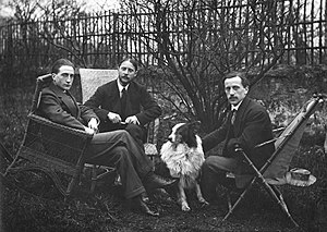 Armory Show - Marcel Duchamp, Jacques Villon, Raymond Duchamp-Villon, and Villon's dog Pipe in the garden of Villon's studio, Puteaux, France, ca. 1913. All three brothers were included in the exhibition.